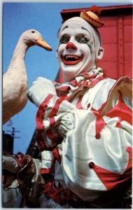 Ringling Bros Barnum & Bailey CIRCUS Postcard Harry the Clown Herman the Duck