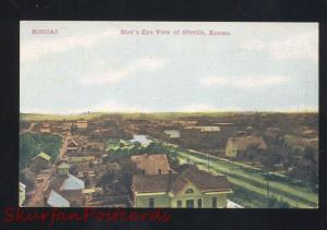 OBERLIN KANSAS BIRDSEYE VIEW ANTIQUE VINTAGE POSTCARD