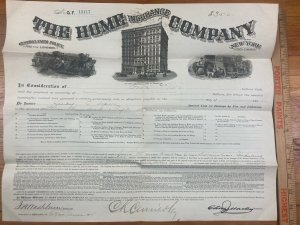 Antique 1885 Home Insurance Company of New York Warsaw Indiana Contract