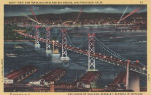 SAN FRANCISCO , California , 30-40s; Night View, S.F. - Oakland Bay Bridge