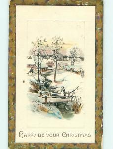 Divided-Back christmas WOMAN WITH BASKET ON BRIDGE OVER ICY RIVER r4681