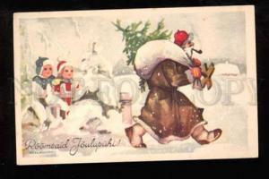 023040 Smoking Brown-Robed SANTA CLAUS by AXEL ROSMANN vintage