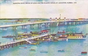 Florida Saint Augustine Municipal Dock Bridge Of Lions And The Atlantic Ocean