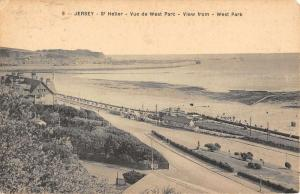 St Helier Jersey View From West Park Beach Scene Antique Postcard K15544
