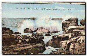 Postcard Old Ploumanach Wave Effect on the Rocks Lighthouse