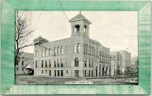 Fargo, North Dakota Postcard CITY HALL Building / Street View 1908 ND Cancel