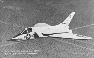 US Navy Plane~Douglas F4D Skyray~Bat Winged Interceptor~1950s B&W Arcade Card~#6