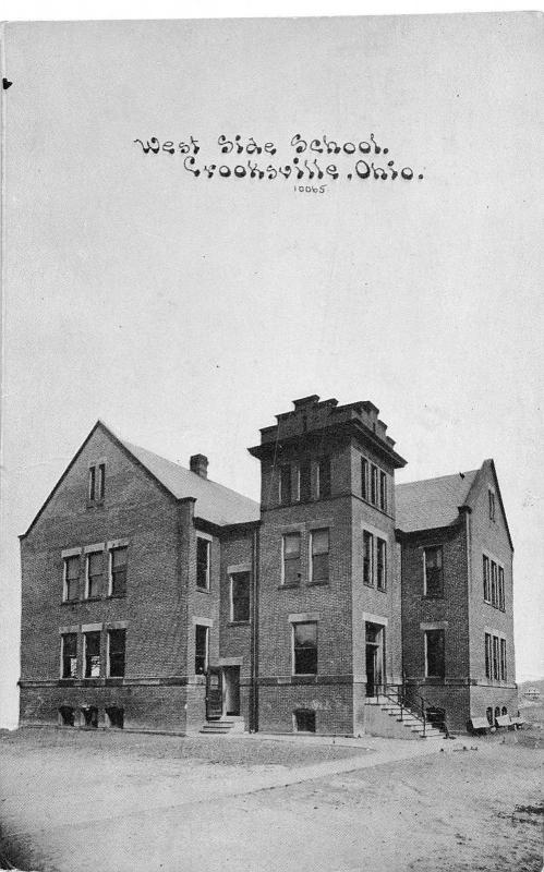 Ohio Postcard CROOKSVILLE Perry County c1910 WEST SIDE SCHOOL Building 1