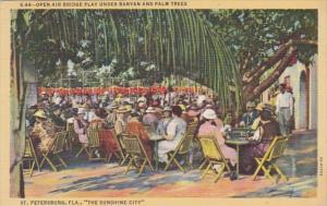 Florida St Petersburg Open Air Bridge Play Under Banyan and Palm Trees Curteich