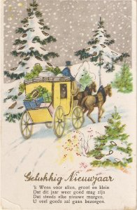 Snow scene with coach and horses  Nice vintage Dutch New Year Greetings PC