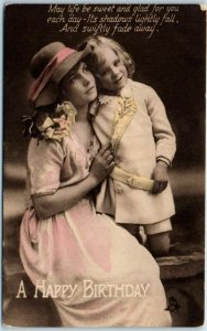 Vintage A HAPPY BIRTHDAY Greetings Postcard Mother Daughter TUCK'S Series R456