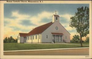 Misquamicut RI Roman Catholic Church Linen Postcard
