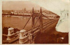 Hungary Budapest Danube Elisabeth bridge 1929 photo postcard