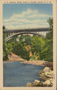 US highway Bridge Route 9 Ausable Chasm New York linen