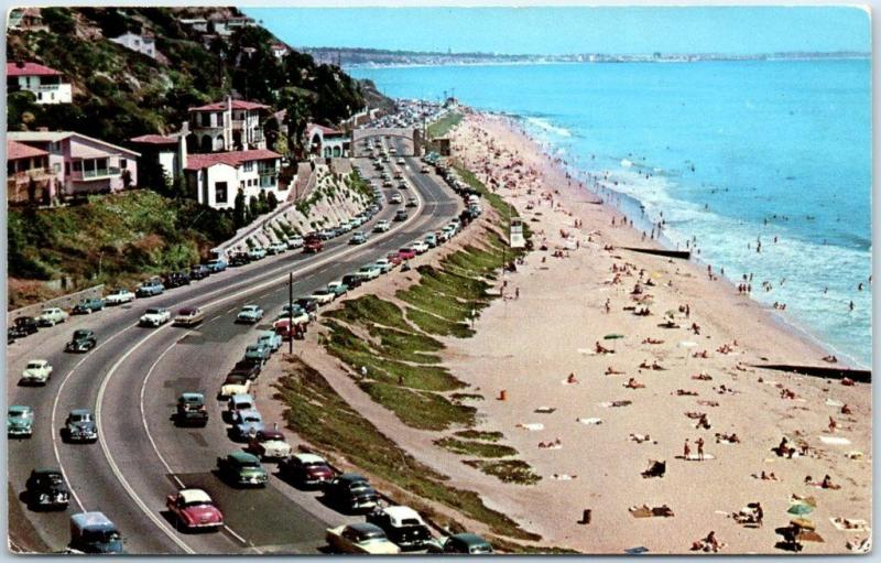 Pacific Palisades California Postcard Bird's-Eye View Beach PCH