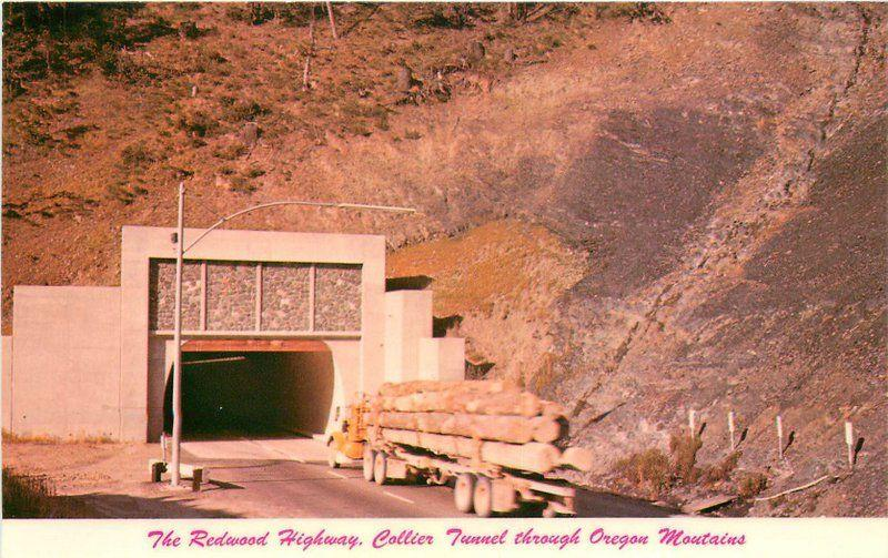Canyon Collier Tunnel 1960s Redwood Highway California Postcard 10368