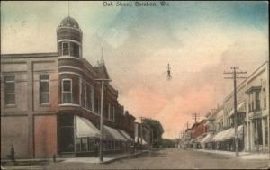 Baraboo WI Oak St. c1910 Postcard