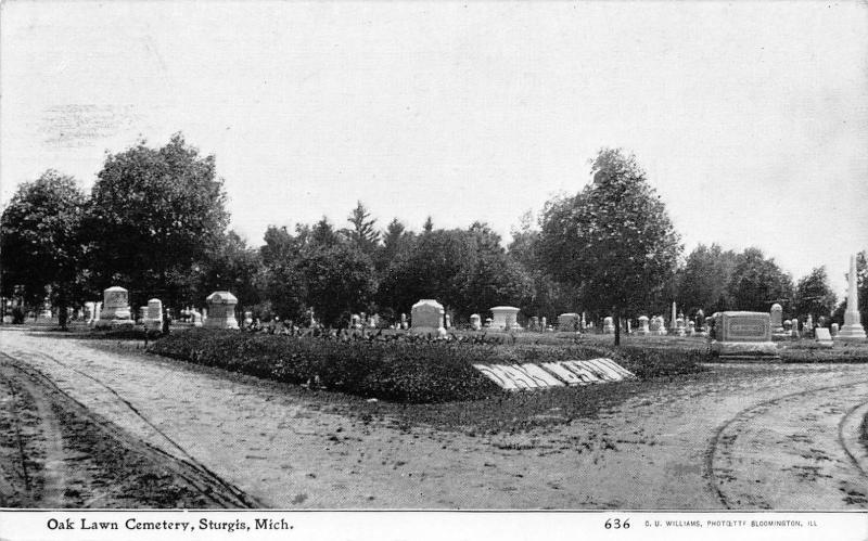 Sturgis Michigan~Oak Lawn Cemetery~Fork in the Road~Tombstones~CU Williams~1908