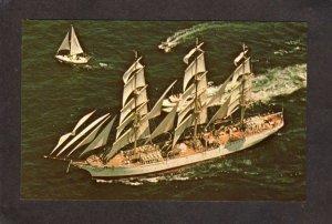 RI Tall Ship Sailing Dar Pomorza between Jamestown Newport Rhode Island Postcard