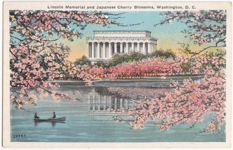 Lincoln Memorial and Japanese Cherry Blossoms, Washington, D.C., unused Postcard