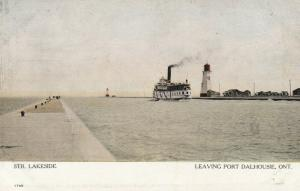 ST. CATHERINES, Ontario,00-10s; Str. Lakeside leaving Port Dalhousie, LIGHTHOUSE