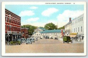 Brandon Vermont~Get Your Soda Here~1920s Automobiles~Center Street~Postcard/PC