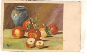 Still Life. Fuits: Lot of four fine paintings vintage Spanish postcards, Signed