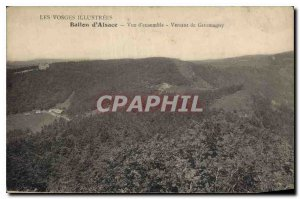Old Postcard Illustrated Vosges Ballon d'Alsace side overview of Giromagny