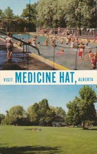 2 Views, Swimming Pool & Rotary Park, Medicine Hat, Alberta, Canada 1940-60s