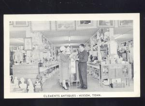 HIXSON TENNESSEE CLEMENTS ANTIQUE STORE INTERIOR VINTAGE ADVERTISING POSTCARD