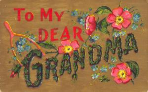 To My Dear Grandma~Large Letter Holly Berries~Wild Roses~Wishbone~Gold Back~1908