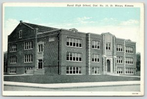 St Marys Kansas~Rural High School~District No 10~1940s Blue Sky Postcard