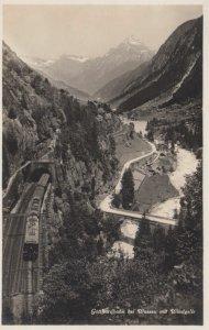 RP; SWITZERLAND, 1910s; Gotthardbahn bei Wassen mit Windgelle, Railroad with ...