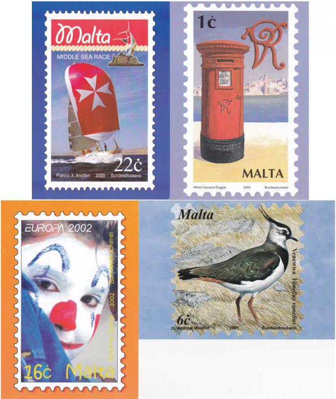 (4 cards) Malta - Stamps on Postcard