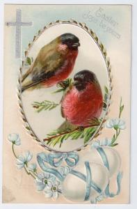 Vintage Easter Postcard Birds Finches Cross Embossed Chromo