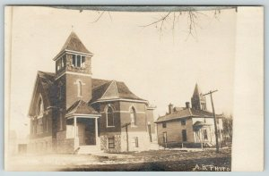 Madison MN Congregational Church~Dirt Rd~Home Partially Obscures Courthouse~RPPC