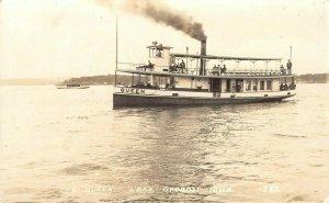 LP61 Lake Okoboji  Iowa Vintage Postcard RPPC Steamer Queen