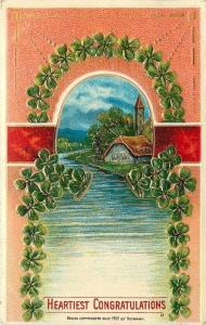 Shamrock Arch Portal~River Cottage~Peach Gold Art Nouveau~1912 Heymann