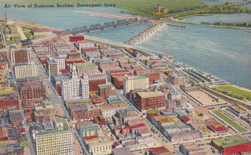 Iowa Davenport Aerial View Of Business Section
