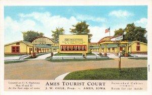 LPS43 AMES Iowa Tourist Court Postcard