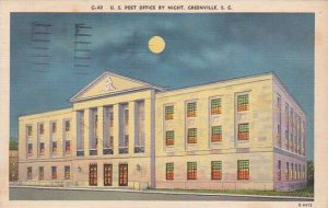 South Carolina Greenville U S Post Office By Night 1955