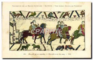 Postcard Old Bayeux Tapestry Harold Reine Mathilde is on