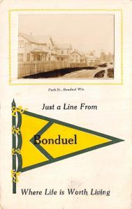 A Line From Bonduel Wisconsin~Park Street Homes~Fence~Pennant~1914 RPPC