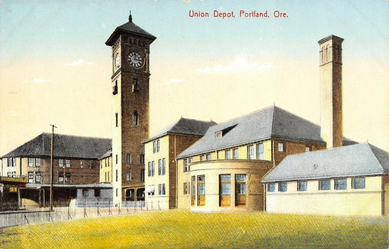 Portland Oregon~Union Depot~Railroad Passenger Station~Clock Tower~1908 Postcard