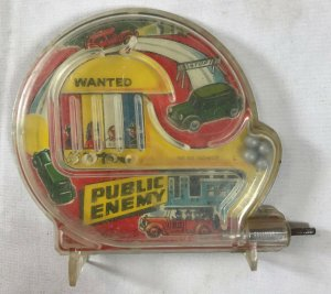Vintage Marx Colorful Public Enemy Old Car Chase Scene Pinball Machine Mini Game