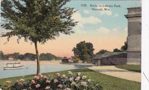 Wisconsin Neenah Scene In Library Park 1916