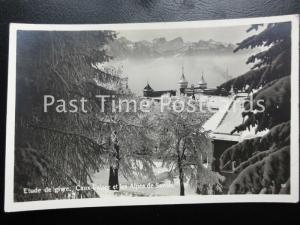 Old RPPC - Etude de givre, Caux Palace et les Aples de Savole - Switzerland