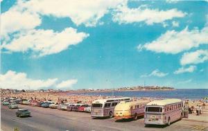 Autos Buses 1963 Hampton Beach New Hampshire Tichnor postcard 1606