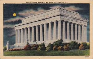 Lincoln Memorial By Night Washington D C 1941