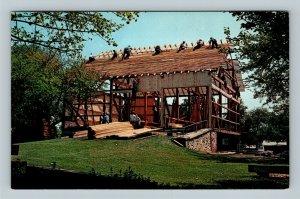 Lancaster PA, Amish Barn Raising, Chrome Pennsylvania Postcard